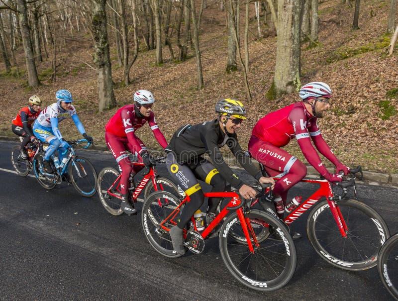 Group of Cyclists - Paris-Nice 2017 stock photos