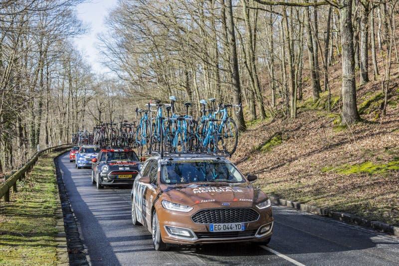 The Car of AG2R La Mondiale Team - Paris-Nice 2017 royalty free stock images