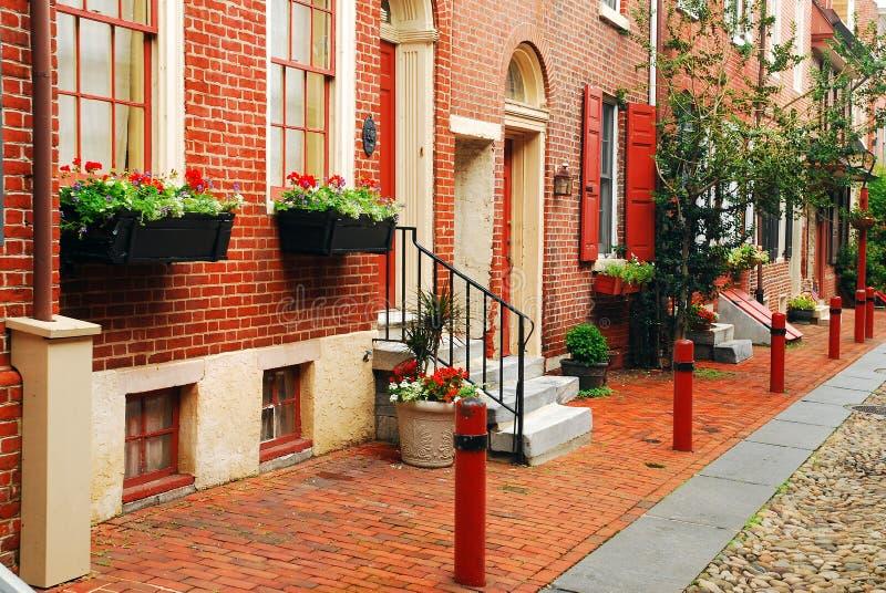 Cote del mattone del vicolo di Elfreth, Filadelfia, PA fotografia stock
