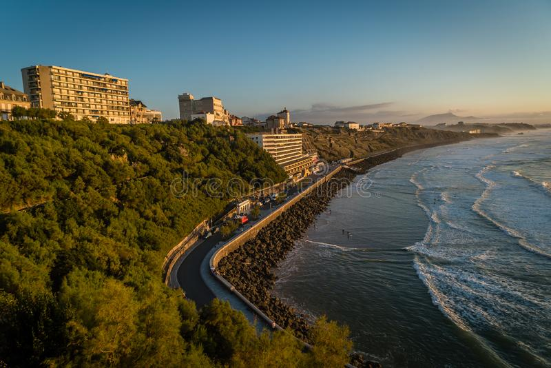 Cote des basques at sunset in Biarritz, France royalty free stock photography
