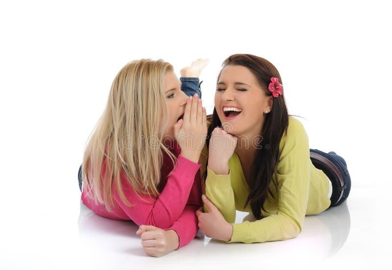 Cotilleo bonito joven de dos muchachas fotografía de archivo libre de regalías