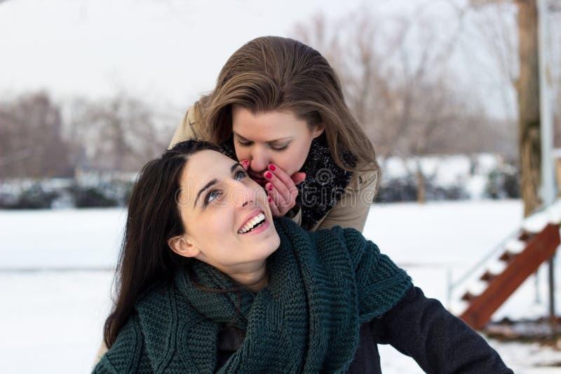 Cotilleo feliz de dos mujeres jovenes fotos de archivo libres de regalías