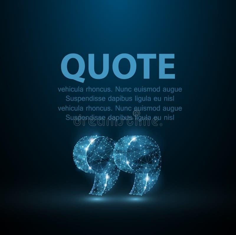 cotización Burbuja en blanco moderna abstracta del discurso con las marcas de la cita en fondo azul marino stock de ilustración
