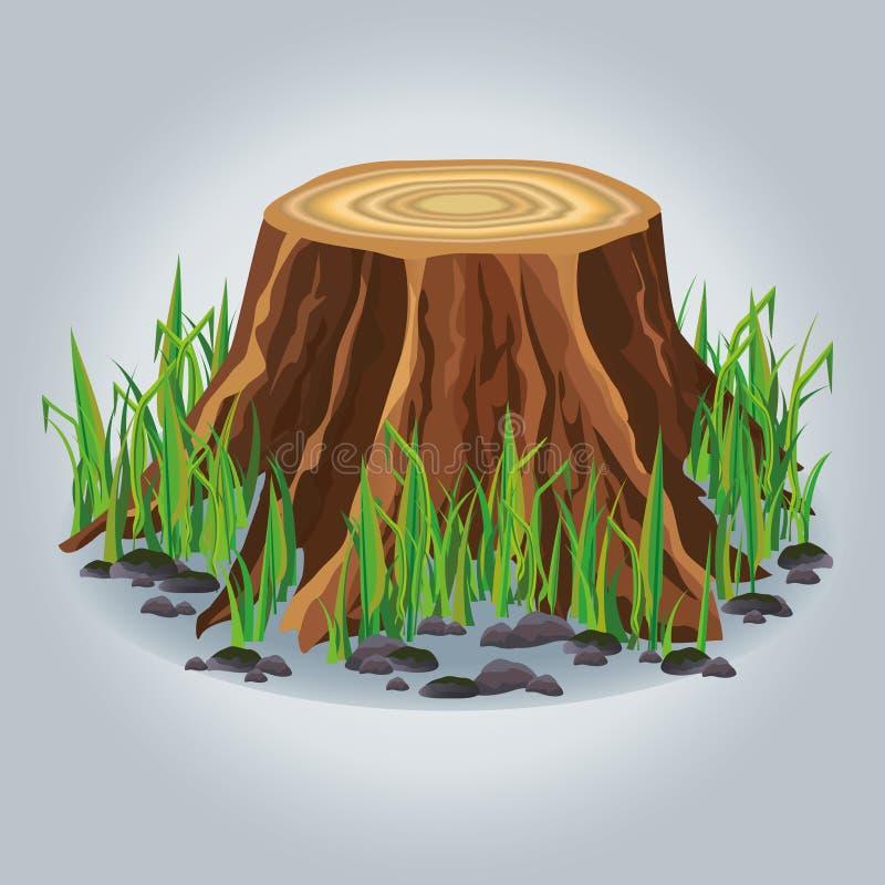 Coto de árvore com grama verde   ilustração stock