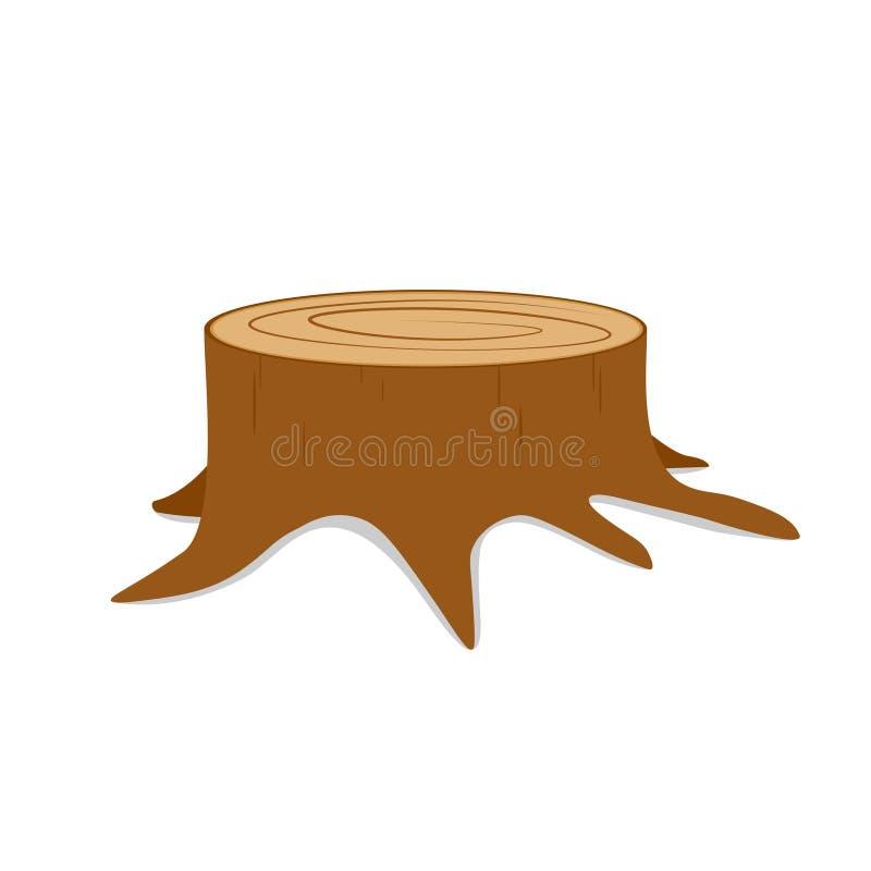 Coto de árvore com raizes ilustração do vetor