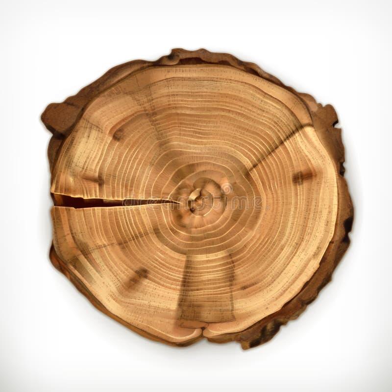 Coto de árvore, corte redondo com anéis anuais ilustração royalty free