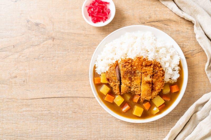 Cotoletta fritta croccante della carne di maiale con curry e riso immagini stock