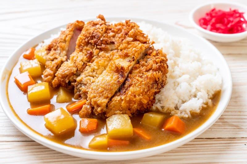 Cotoletta fritta croccante della carne di maiale con curry e riso fotografia stock