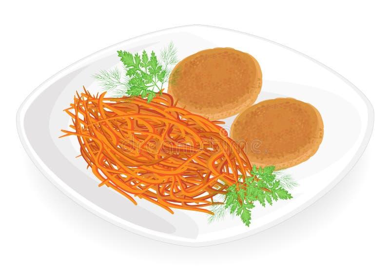 Cotolette della carne su un piatto Carota coreana di contorno Foglie del prezzemolo e dell'aneto Alimento delizioso, saporito e n illustrazione vettoriale