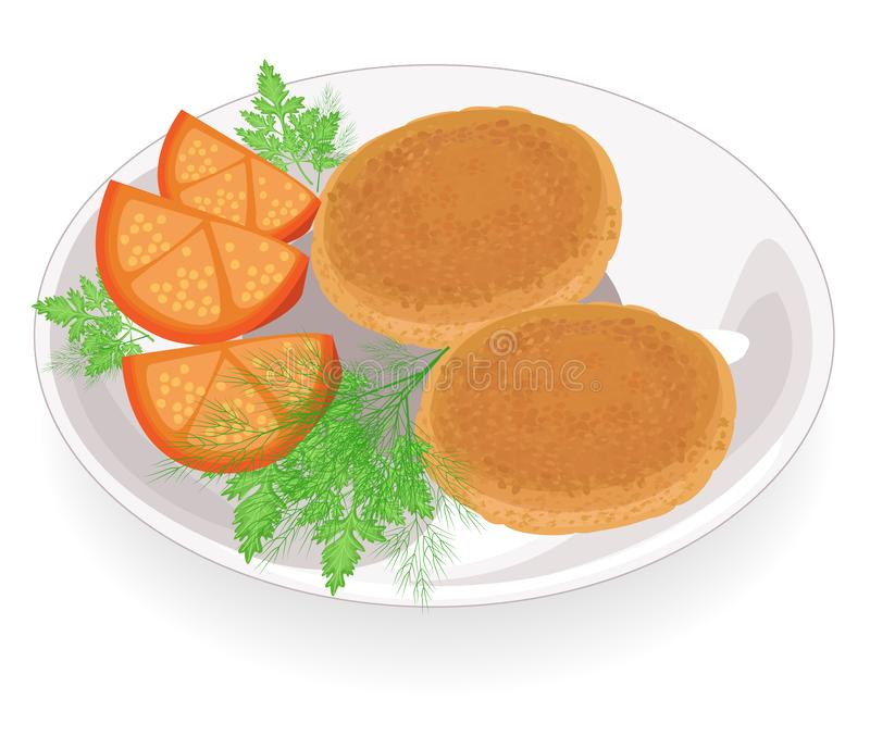 Cotolette fritte su un piatto Guarnisca il pomodoro, l'aneto ed il prezzemolo Alimento delizioso, fresco e nutriente Illustrazion illustrazione vettoriale