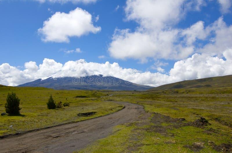 cotopaxi厄瓜多尔对火山的路山顶 库存图片