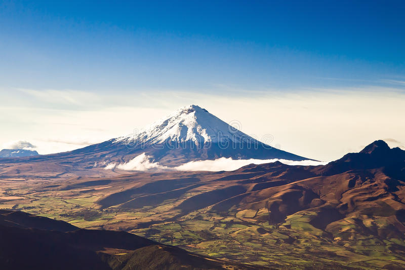 Cotopaxi volcano, Ecuador aerial shot royalty free stock image