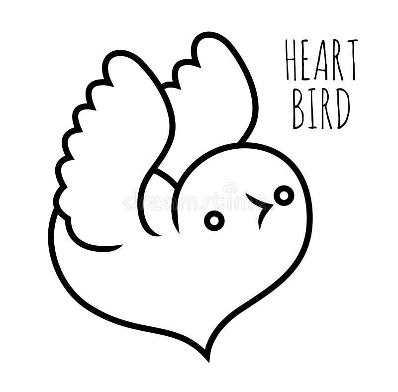 Cotorra rizada - pájaro en forma de corazón stock de ilustración