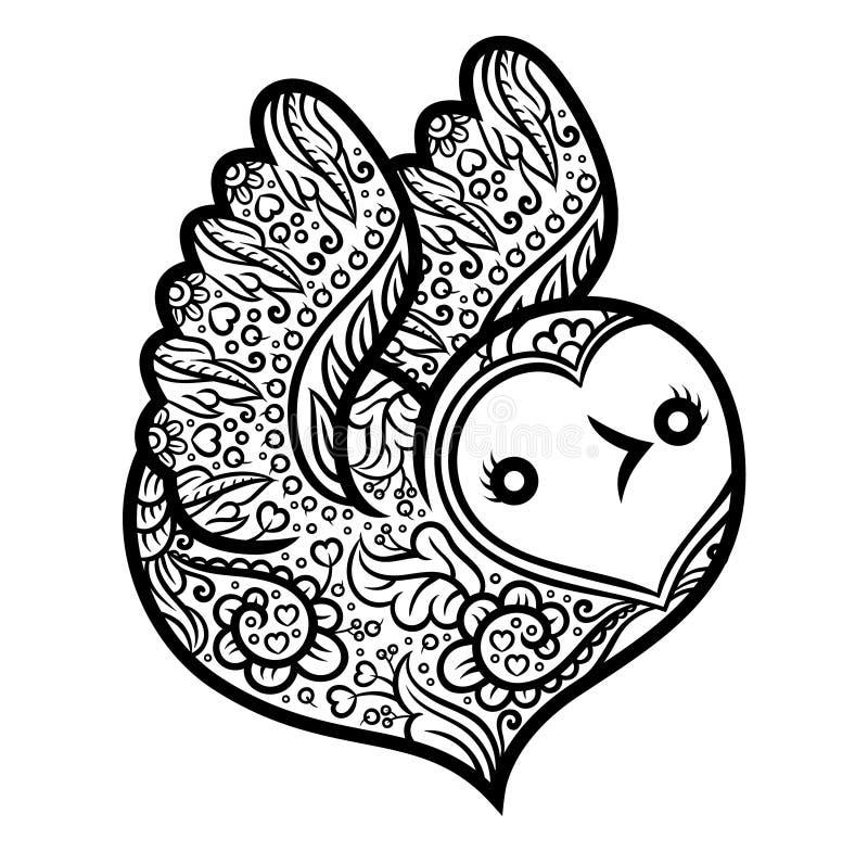 Cotorra rizada - pájaro en forma de corazón ilustración del vector