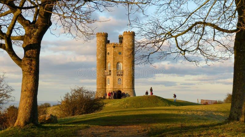 Cotswold的中世纪百老汇塔,渥斯特夏,英国,英国 免版税库存图片
