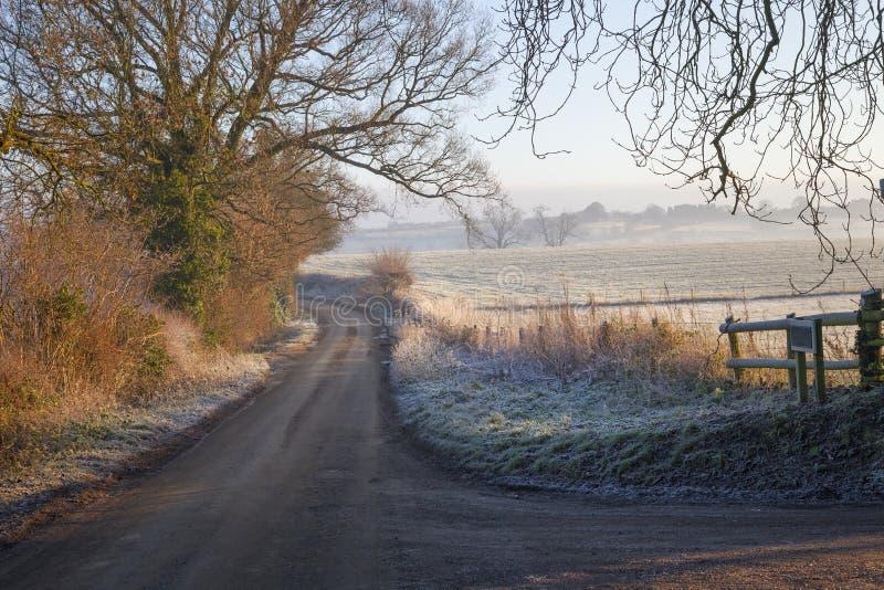 Cotswold landskap i vinter royaltyfri bild