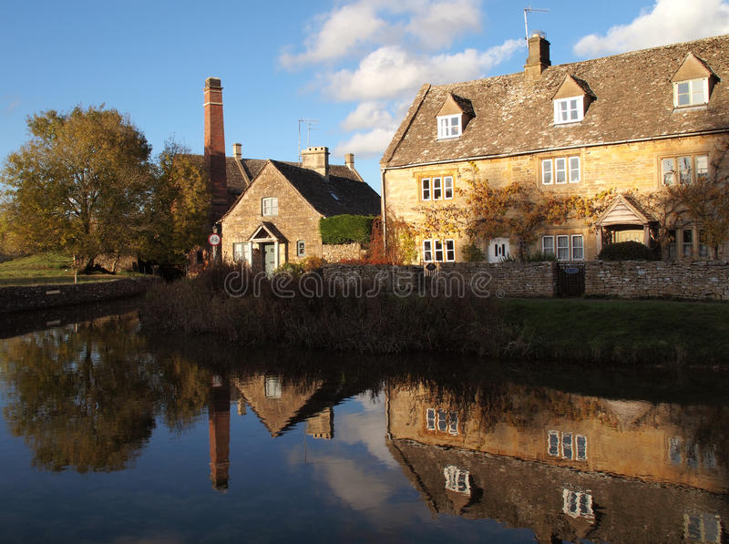 Cotswolds Lower Slaughter. Lower Slaughter Village in Autumn, Cotswolds, UK stock image