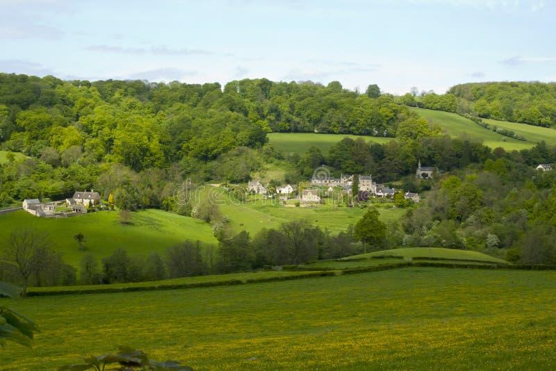 Cotswolds scénique, vallée de Slad au printemps image libre de droits