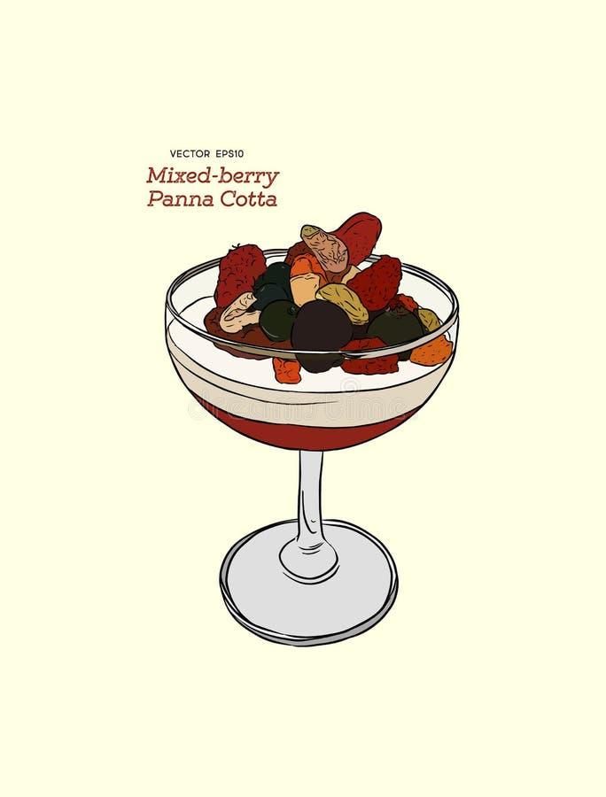 Cotta de Panna con las bayas mezcladas frescas en un vidrio, desser italiano ilustración del vector