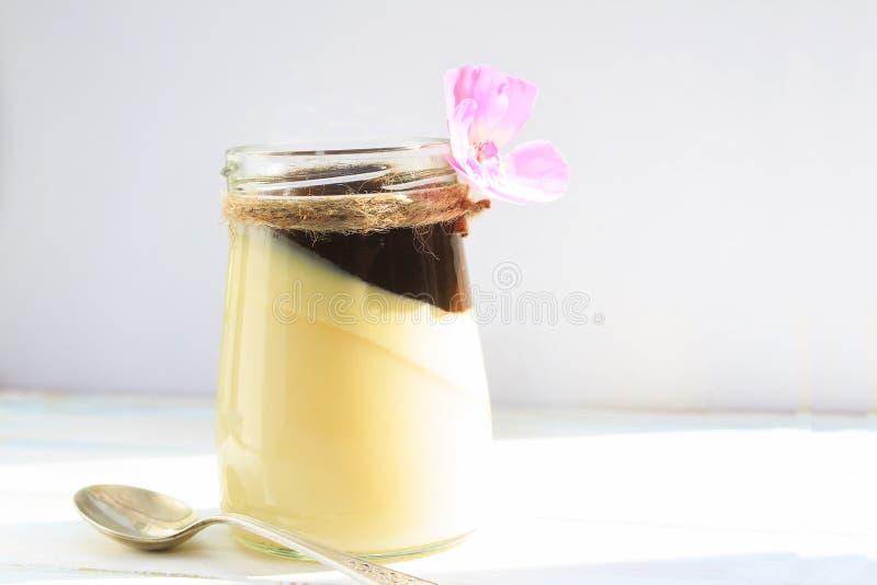 Cotta do panna da baunilha com molho de chocolate, colher de sobremesa italiana no fundo branco foto de stock royalty free