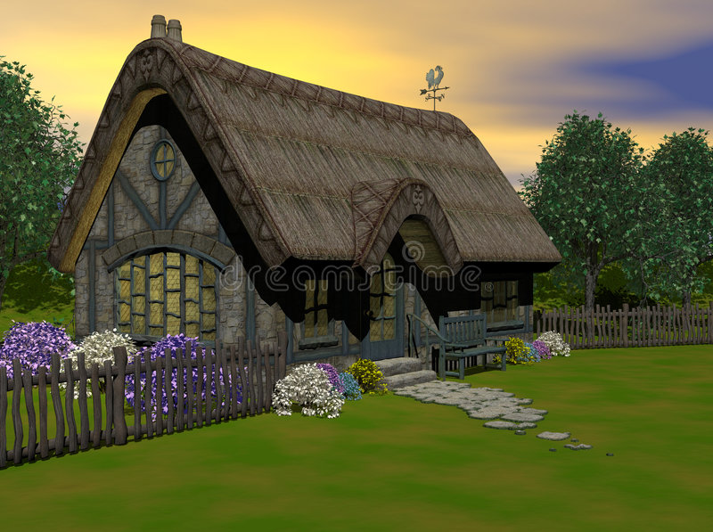 The Cottage. Simple country cottage, surrounded by flowers. Computer Generated Image, CGI, 3D models, generated by Bryce