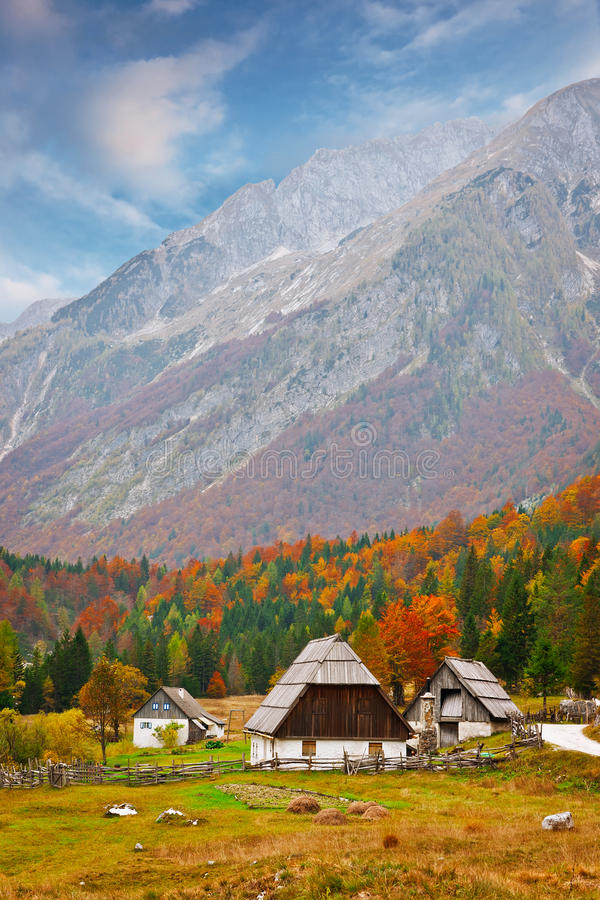 Cottage in Alps stock photo