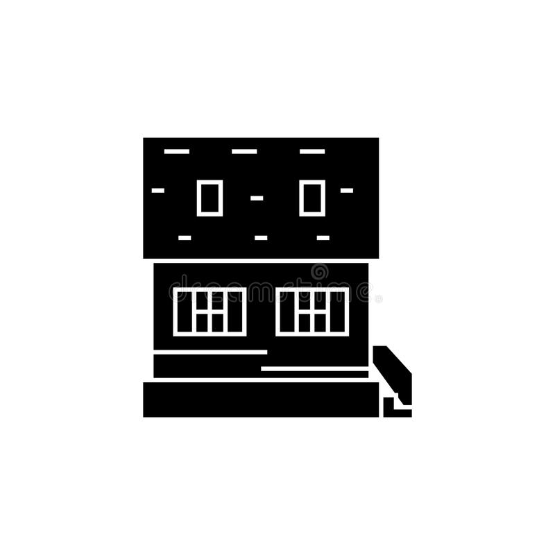 Cottage black icon concept. Cottage vector sign, symbol, illustration. royalty free illustration