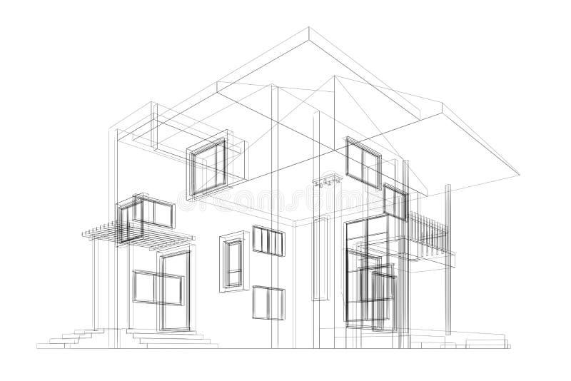 Download Cottage blueprint stock illustration. Illustration of modern - 26810064