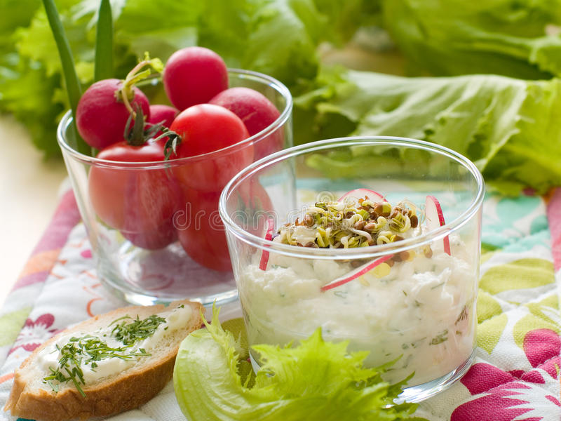 Download Cottage cheese stock image. Image of ingredient, herb - 18135213