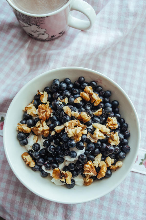 Download Cottage Cheese With Blueberries Nuts And Honey Stock Image - Image of dessert & Cottage Cheese With Blueberries Nuts And Honey Stock Image - Image ...