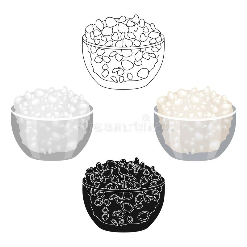 Cottage cheese in the bowl icon in cartoon,black style isolated on white background. Milk product and sweet symbol stock. Cottage cheese in the bowl icon in vector illustration