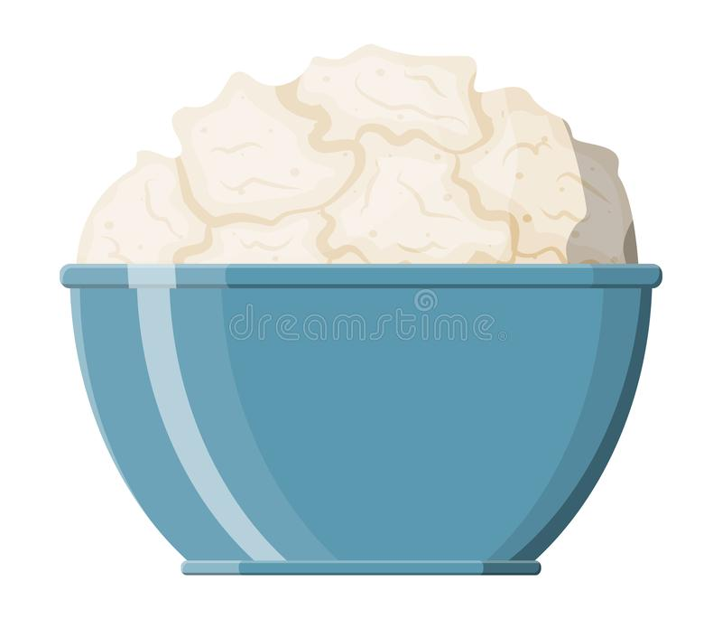 Cottage cheese in bowl isolated on white. Curd with vitamins, protein and calcium. Dairy milk product. Organic healthy product. Vector illustration in flat vector illustration