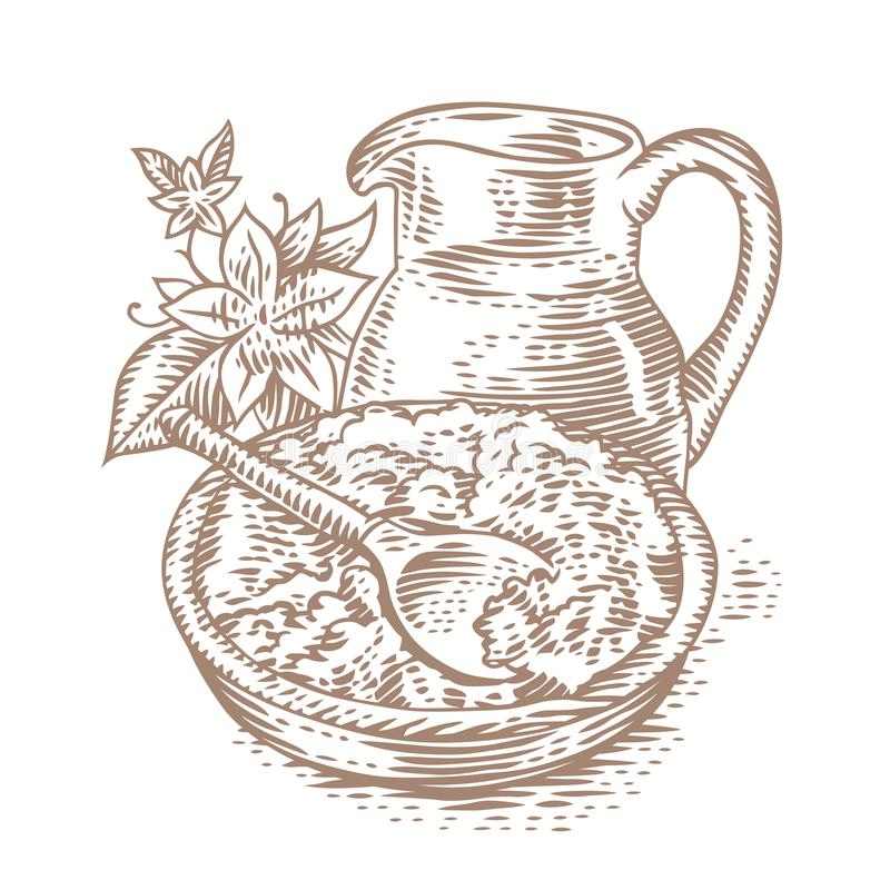 Cottage cheese with milk jug. Cottage cheese in the bowl with jug of milk vector illustration