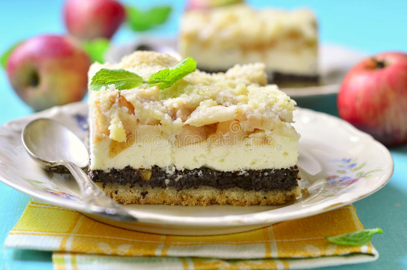 Cottage cheese cake with apple and poppy seed. stock photography