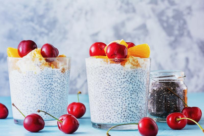 Cottage Cheese with Chia Seeds Sweet Breakfast stock photography