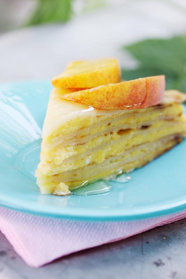 Cottage cheese dessert with peach stock photo