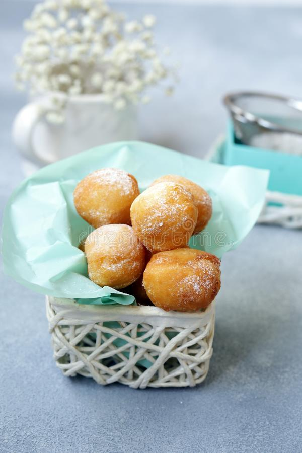 Cottage cheese donuts balls royalty free stock photos
