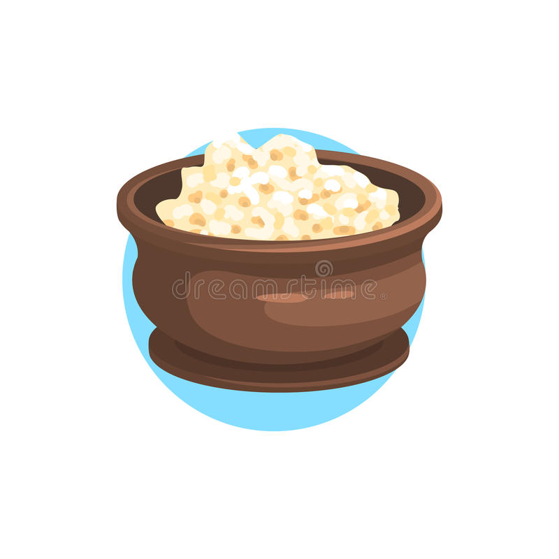 Cottage Cheese Farm Product Colorful Sticker. With Circle On The Background In Detailed Simple Vector Design vector illustration