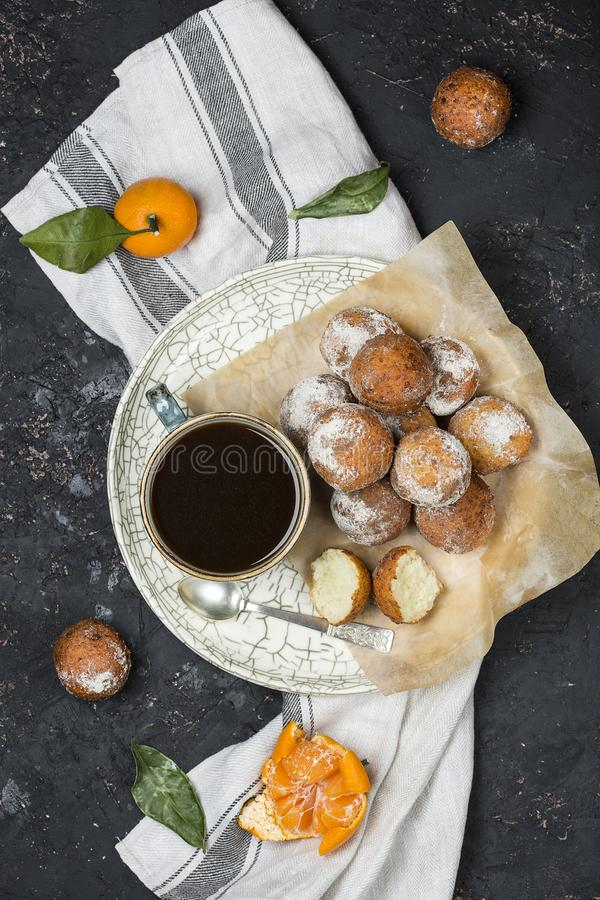Cottage cheese fried donuts stock photography