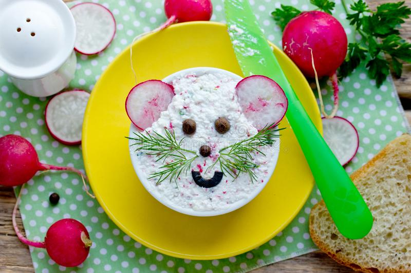 Cottage cheese, green herbs, fresh radish dip appetizer for sandwiches stock images