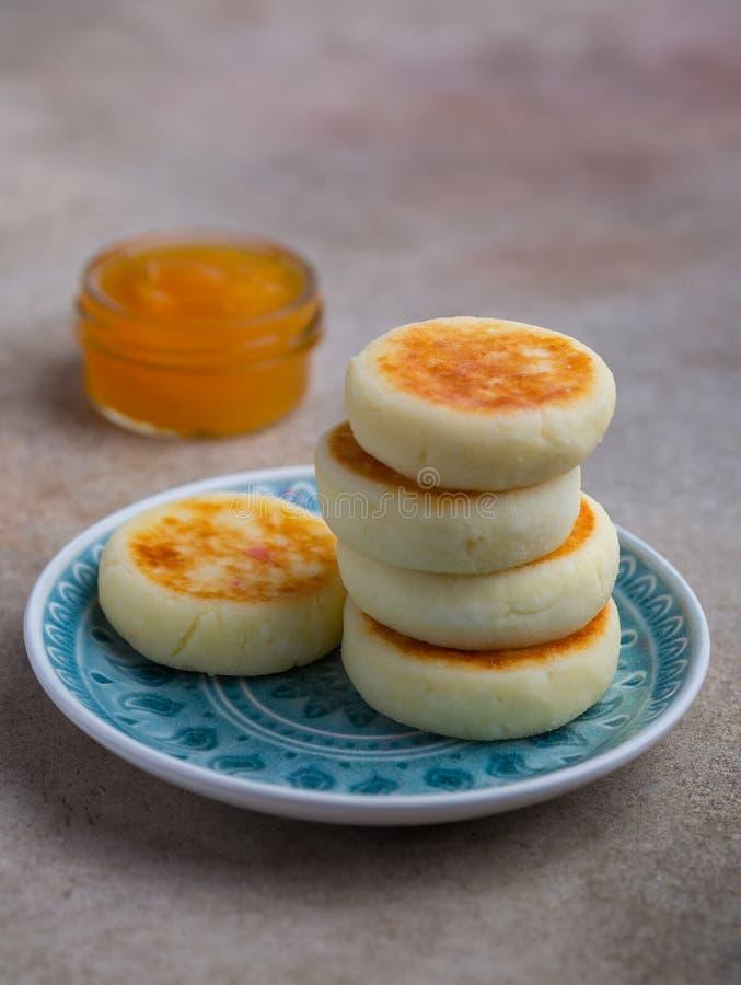 Cottage cheese pancakes royalty free stock photos