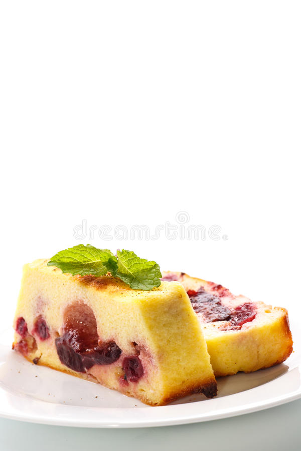 Cottage cheese pie with berries royalty free stock photography