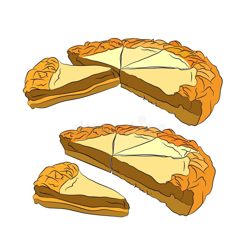 Cottage cheese pie. Vector illustration. On white isolated background. sketching style stock illustration