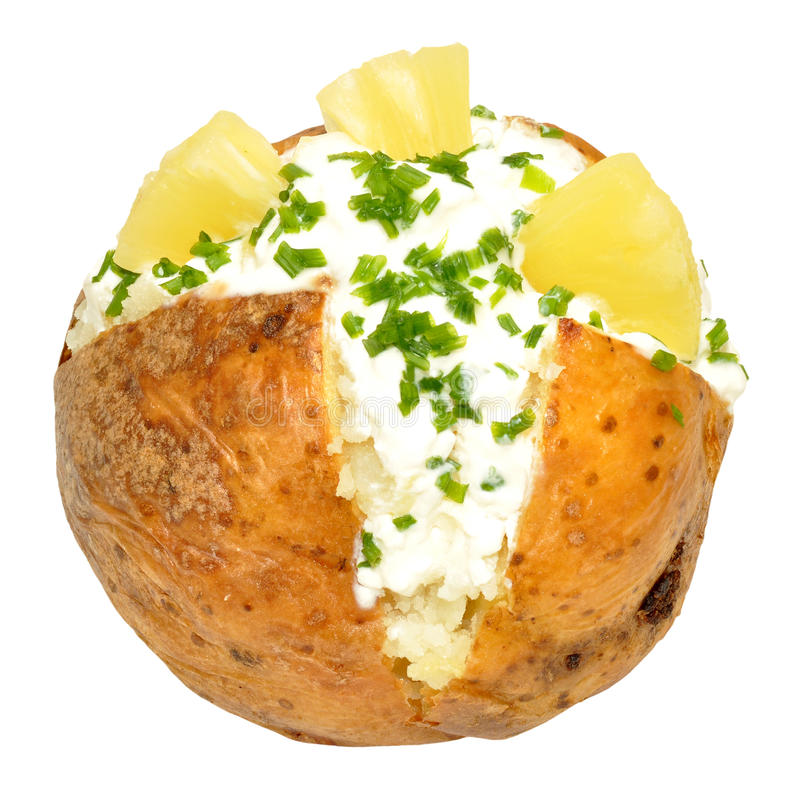 Download Cottage Cheese And Pineapple Filled Baked Potato Stock Image