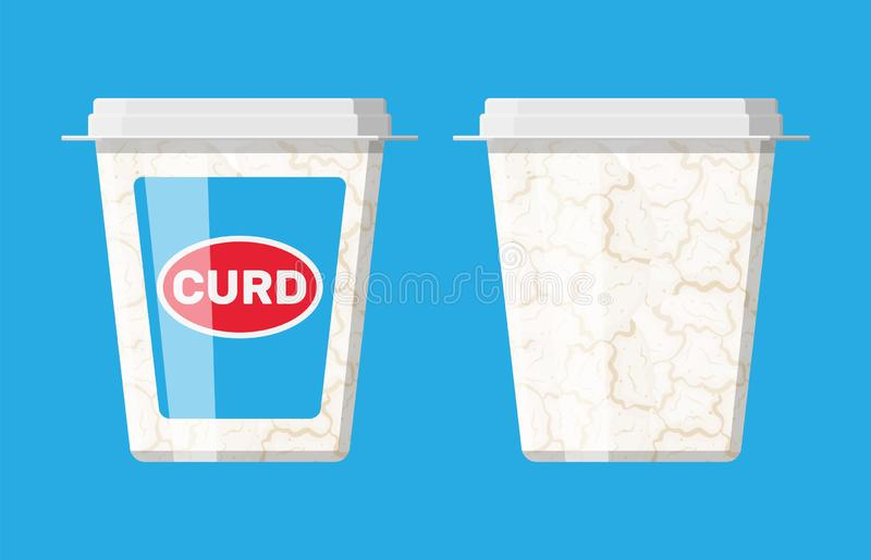 Cottage cheese in plastic box isolated on blue. Curd with vitamins, protein and calcium. Dairy milk product. Organic healthy product. Vector illustration in stock illustration