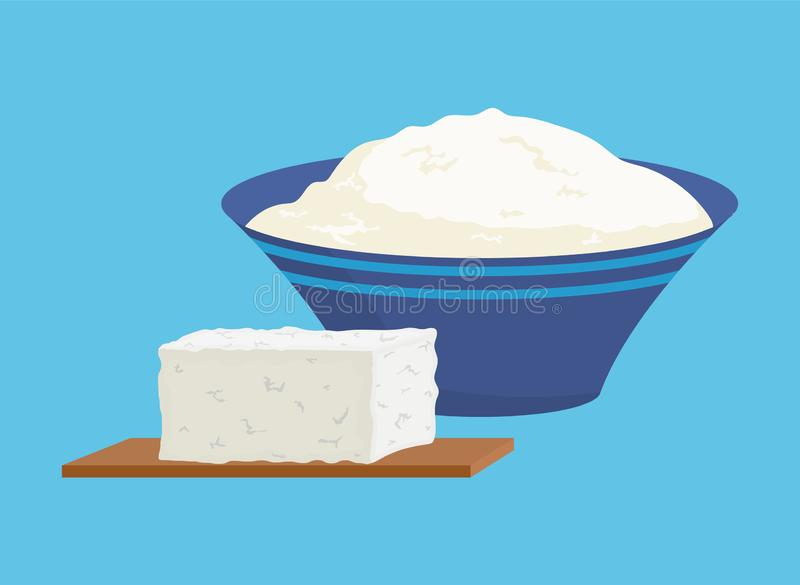 Cottage Cheese Portions Set Vector Illustration stock illustration