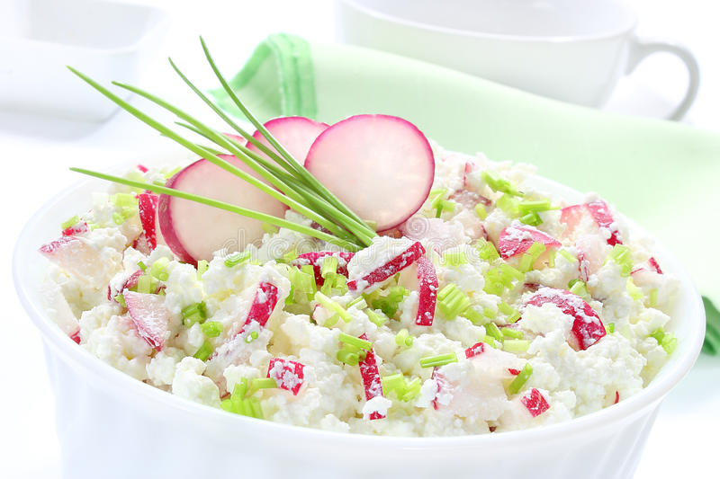 Cottage cheese. With radish and chives royalty free stock image