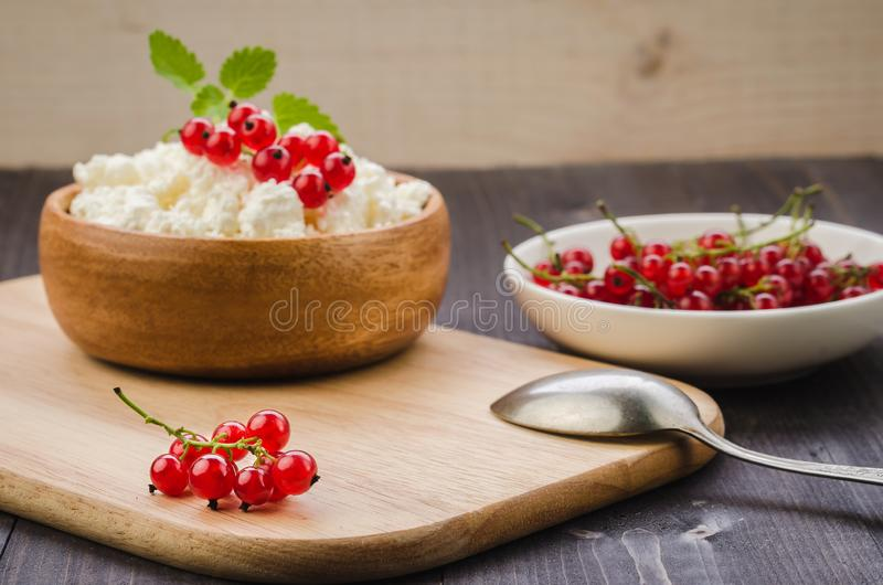 Cottage cheese with red currant in a wooden plate/cottage cheese with red currant in a wooden plate on a dark backgraund. Selective focus, curd, fresh royalty free stock images