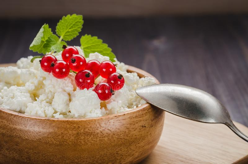 Cottage cheese with red currant in a wooden plate/cottage cheese with red currant in a wooden plate on a dark backgraund. Curd, fresh, background, bowl stock photos