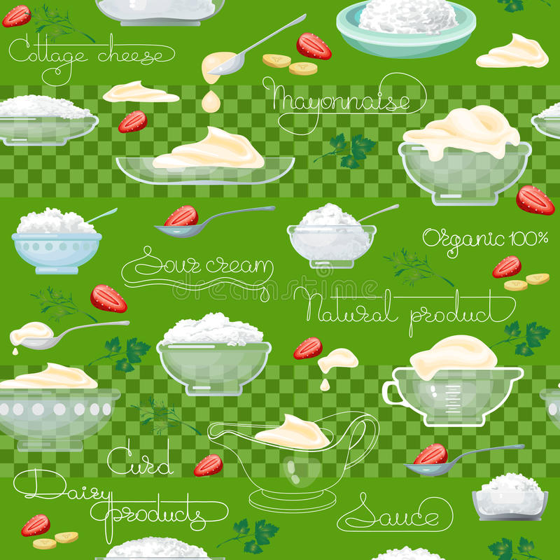 Cottage cheese, sour cream and handwritten words. Cottage cheese, sour cream and handwritten words seamless pattern. Vector background. Food image. Hand drawn royalty free illustration
